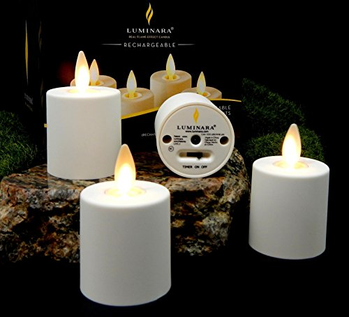4pc Luminara Flameless Rechargeable Tea Light Candles Ivory Votive Replacement Set & BONUS REMOTE Included | Replacement Set - Charging Base Sold Separately by Luminara
