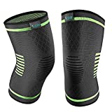 Sable 【Upgraded Knee Brace 2 Pack Compression Sleeves Support for Women & Men, FDA Registered Wraps Pads for Arthritis, ACL, Running, Pain Relief, Injury Recovery, Basketball and More Sports