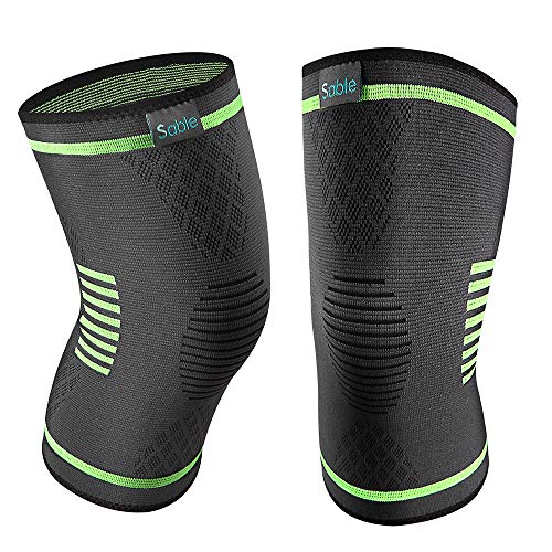 Sable Upgraded Knee Brace 2 Pack Compression Sleeves Support for Women & Men, FDA Registered Wraps Pads for Arthritis, ACL, Running, Pain Relief, Injury Recovery, Basketball and More Sports