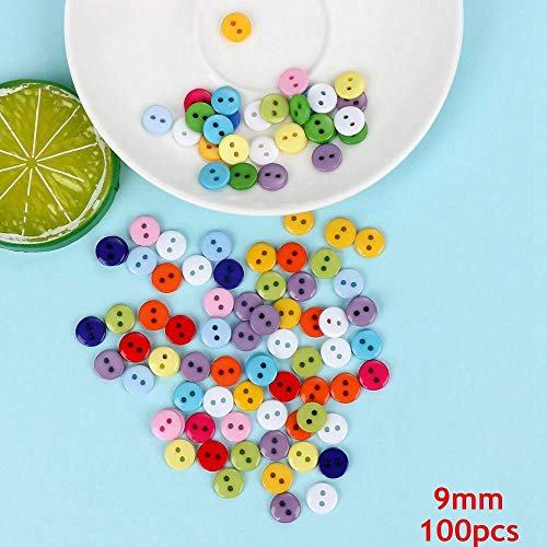 Accessorie Star Picture Mixed Color Flowers Plastic Craft Round Resin Button (Size - 100pcs 9mm)
