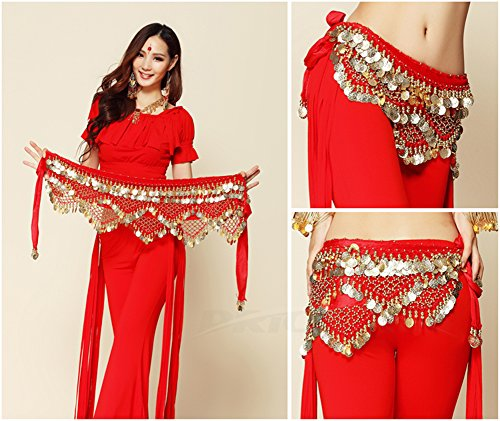 Price Xes Women's Sweet Bellydance Velvet Hip Scarf Belt With Gold Coins Zumba Skirts Wrap Noisy Colorful Waist Chain Vogue Style Dangling (red)