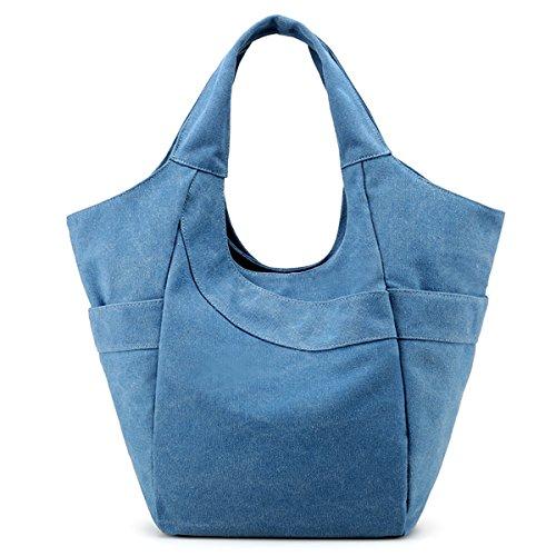 SDINAZ Bolsos de lona de las mujeres bolso hombro bandolera larga liviano moda casual verano bolsas para mujeres Blanco Azul