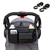 DYSONGO Stroller Organizer - Waterproof Buggy Organizer for Moms - Universal Fit Pram Hanging Bag - Large Capacity Storage Bag for Diapers、Toys、Wallets、iphones - With 2 Stroller Hooks (Black)