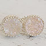 Round Neutral Druzy Crystal Earring Posts Sterling Silver Studs 8mm Round Earrings