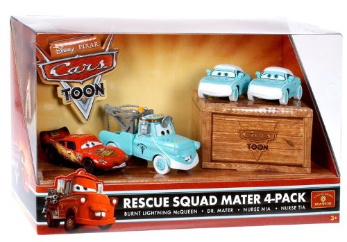 Mattel Disney Pixar Cars Toon Exclusive Series 1:55 Scale Die Cast Car Figure Set - RESCUE SQUAD MATER 4 PACK with Burnt Lightning McQueen, Dr. Mater, Nurse Mia and Nurse Tia - Exclusive Car Series