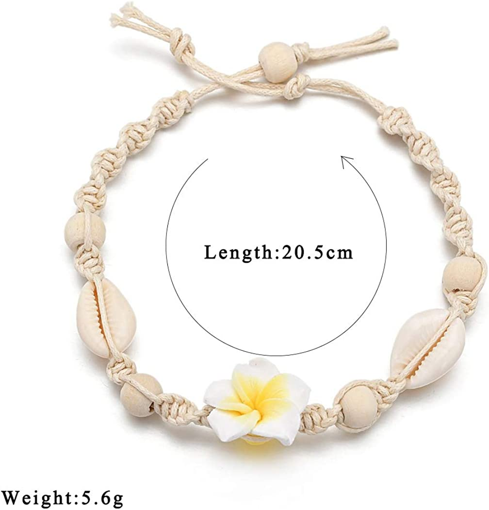 Weiy Shell Flower Ankle Bracelet Woven Anklet Bracelet Woven Foot Chain Accessories Adjustable for Women,Yellow