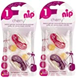 nip Rundsauger Cherry Doppelpack Girl, Latex, Größe 1 (0 - 6 Monate)