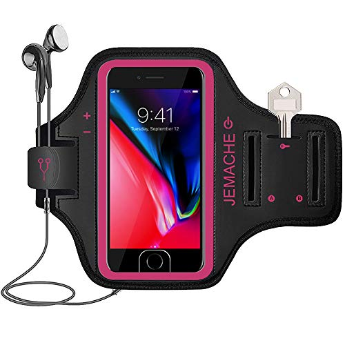 iPhone 7/8 Plus Armband, JEMACHE Gym Running Workout Arm Band Case for iPhone 6/6S/8/7 Plus - Exercise Pouch Phone Holder, Fingerprint Access (Rosy)
