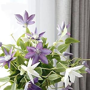 Li Hua Cat FrenchHigh-endViolet/WhiteClematisartificialflower/flowerarrangementfortable,desk,room,shop,photography,wedding,DIY,etc (White) 4