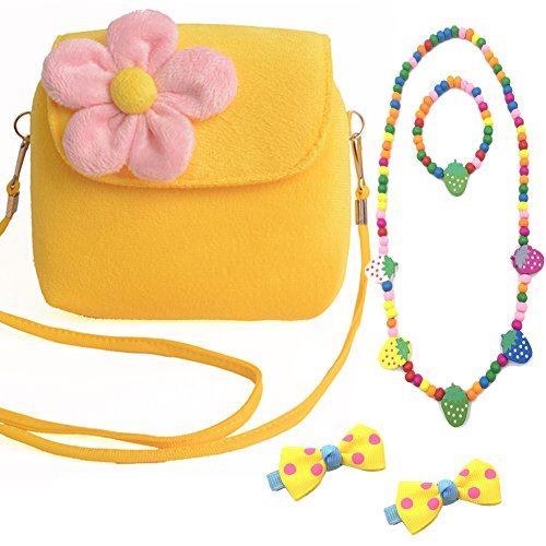 Aligle Cute Little Girl Fashionable Beauty Set Plush 3D Flower Handbag crossbody bag + 2 bow-knot Hair Clip + Necklace and Bracelet Set(Yellow) (Flower Backpack Purse)