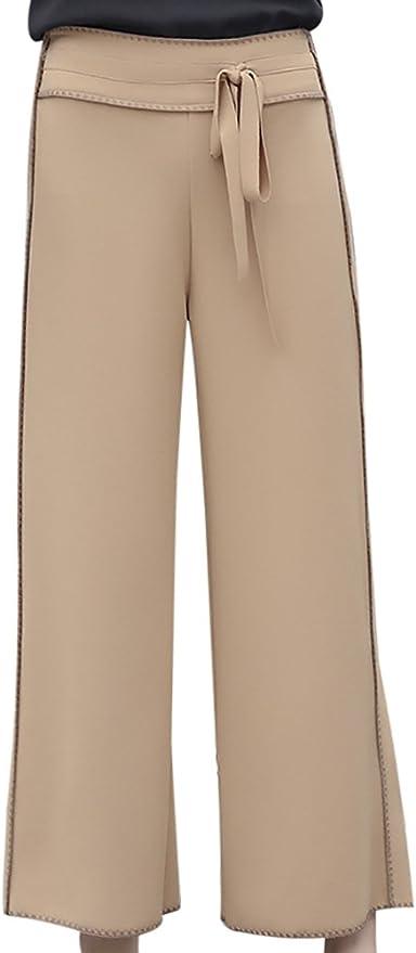 Popoye Pantalones Acampanados Ancho para Mujer Pantalones de Campana con Cinturón Bowknot Algodón Caqui: Amazon.es: Ropa y accesorios