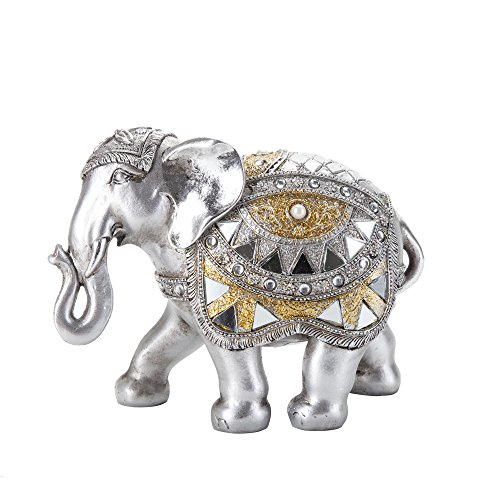 Redeco Feng Shui Luck Fortune Elephant, Decorative Figurine Sculpture Decor, Indoor Home Office Tabletop Decoration, Silver 4.8 Inch High, Trunk Down Down Statue