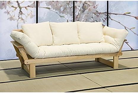 Vivere viverezen – Sofá Cama futón – Sesamo a Tres plazas con futón algodón polylatex 11 cm + 3 Cojines: Amazon.es: Hogar