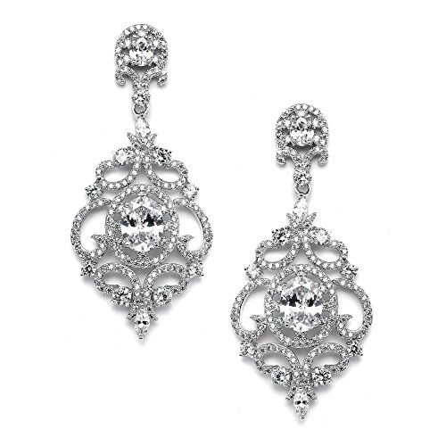 Mariell Victorian Scrolls Silver Platinum Plated Cubic Zirconia Wedding Bridal Chandelier Earrings Body Jewelry Black Chandelier Earrings
