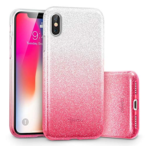 ESR Makeup Glitter Case for iPhone X/iPhone 10, Glitter Sparkle Bling Cover [Three Layer] for iPhone 5.8 inch (2017 Release only)(Ombre Pink)