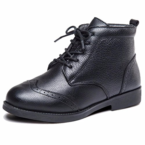 Ankle Women's Moonwalker Wingtip Black Boot Cow Genuine Leather RA7fX