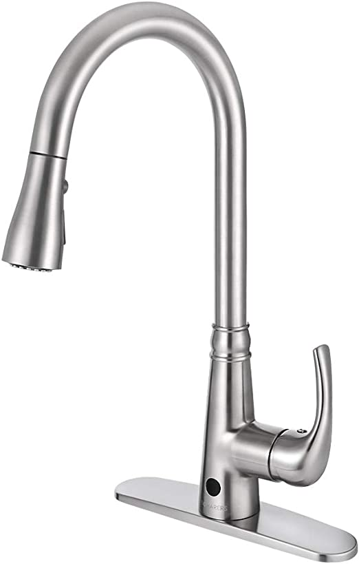 Motion Sensor Kitchen Faucet with Sprayer - Brushed Nickel No Touch  Touchless Faucets Stainless Steel Single Handle Spot Resist by BOHARERS