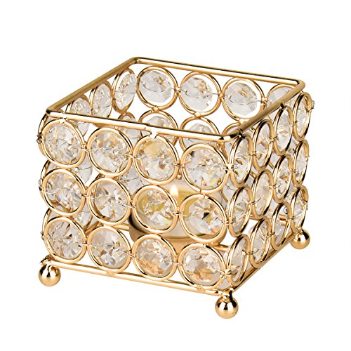 Autai Gold Crystal Candle Holder for Wedding Centerpieces Candlesticks Birthday Party Dining Table Candlelight Home Decoration - Crystal Tealight Holder Square