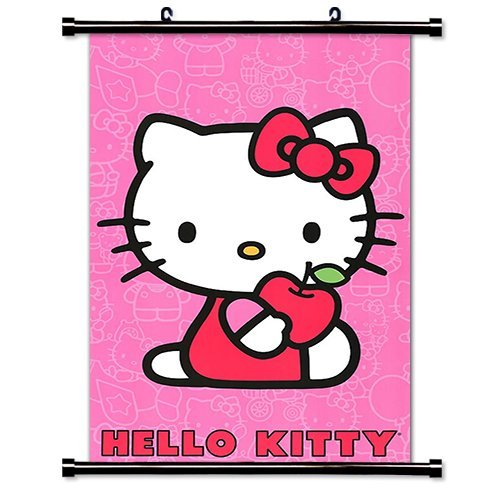 Hello Kitty Anime Fabric Cute Wall Scroll Poster (16x24) Inches