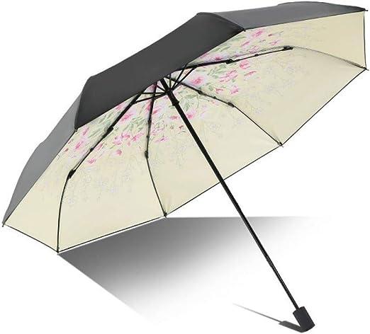 GJYWHF Sombrilla Paraguas Anti-Ultravioleta para Las Mujeres Flor Plegable Luz Parasol Regalo Femenino A Prueba De Viento Chica Sol Negro Lluvia Paraguas De Las Señoras: Amazon.es: Jardín