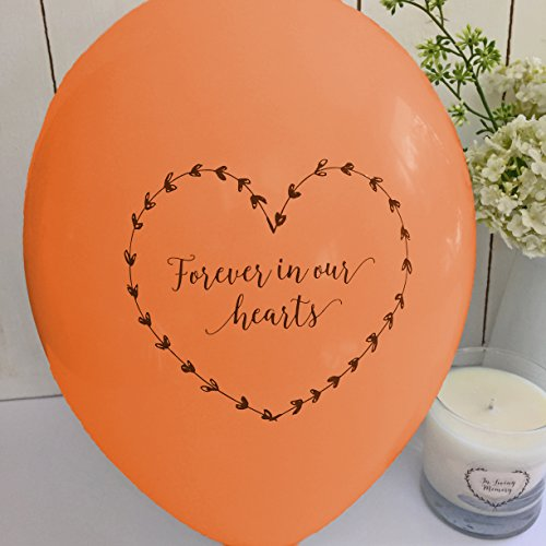 ANGEL & DOVE 25 Orange 'Forever In Our Hearts' Biodegradable Funeral Remembrance Balloons - for Memory Table, Memorial, Condolence, Anniversary by