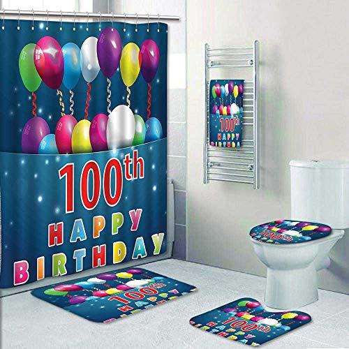Print Pinzon (AmaPark 5 Piece Bath Set:1 Large Bat Mat 1 Contour Mat 1 Bath Towel,Decorations Colorful Balloons on Star Like Dots 100 Years Birthday Blue and Dark Pattern Printing Suit)