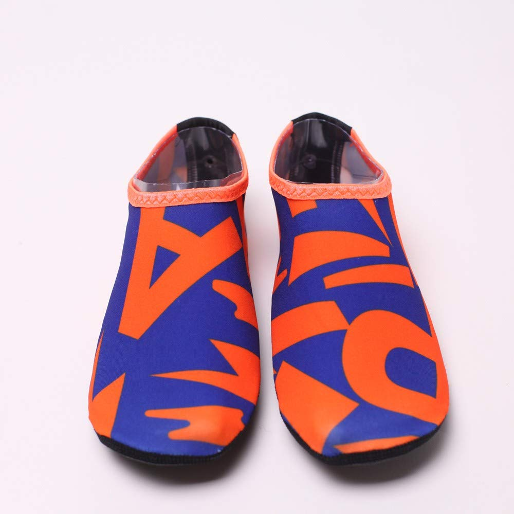 NUWFOR Beach Shoes Water Sports Unisex Water Shoes Barefoot Yoga Socks Diving Barefoot (Orange, 4-4.5 M US Length:8.25'') by NUWFOR (Image #2)