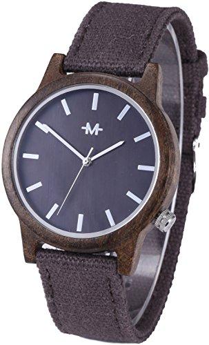 Dark Brown Face (Marino Mens Canvas Wooden Watch - Wrist watches for Men - Dress Wood Watch - Dark Brown - Canvas Band)