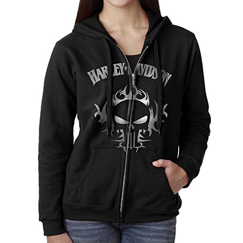 SoSoily Hoodie Sweatshirt Women's DavidHar Logo Skull Long Sleeve Zip-up Hooded Sweatshirt Jacket Black ()