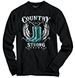 Country Strong Boots Wings Rodeo Western Cowgirl Gift Ideas Long Sleeve T-Shirt