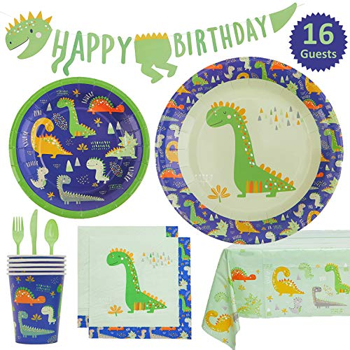 My Greca Dinosaur Party Supplies Pack - Plates, Cups, Napkins, Happy Birthday Banner, Table Cover, Cutlery Set - Serves 16 - Dinosaur Roar Theme Birthday Party Decorations for Boys and Girls.