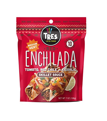 Tres Latin Foods Vegan Non-GMO Skillet Sauce, Red Enchilada, 6 Count