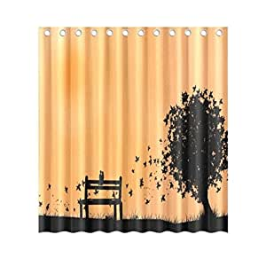Bench Pattern Fabric Shower Curtain, 66