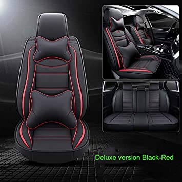 Luxury Leather Auto Car Seat Covers 5 Seats Full Set Universal Fit Black-Red