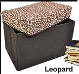 Collapsible Storage Ottoman, Rectangle Shape (Leopard Pattern)