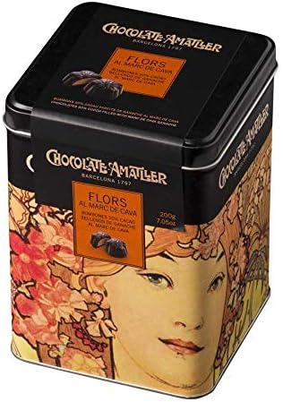 Chocolate Amatller - Flors. Bombones de chocolate 50% cacao al Marc de Cava en Caja Metálica 200g: Amazon.es: Alimentación y bebidas