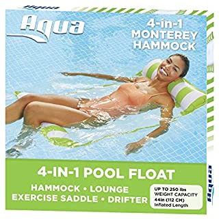 Aqua 4-in-1 Monterey Hammock Inflatable Pool Float, Multi-Purpose Pool Hammock (Saddle, Lounge Chair, Hammock, Drifter) Pool Chair, Portable Water Hammock, Lime Green/White Stripe