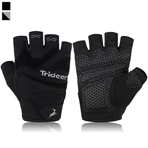 Trideer Ultralight Weight Lifting Gloves with Anti-slip 3-Piece Silica Gel Grip & Adjustable Velcro Strap, Gym Gloves for Workout, Fitness, Cross Training (Black, M (Fits 7.1-7.9 Inches))
