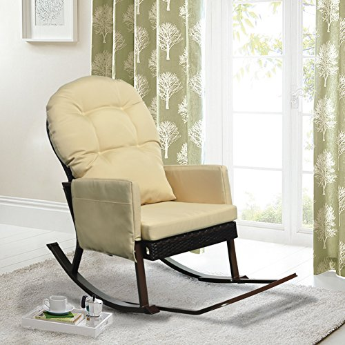 Outdoor Wicker Rocking Chair with Foot Rest, All Weather Porch Deck Chair, Outdoor Glider Patio Armchair Lounge Chair, UV Resistant and Anti-Rust Aluminum Frame (Khaki) (Double Indoor Rocker Glider)