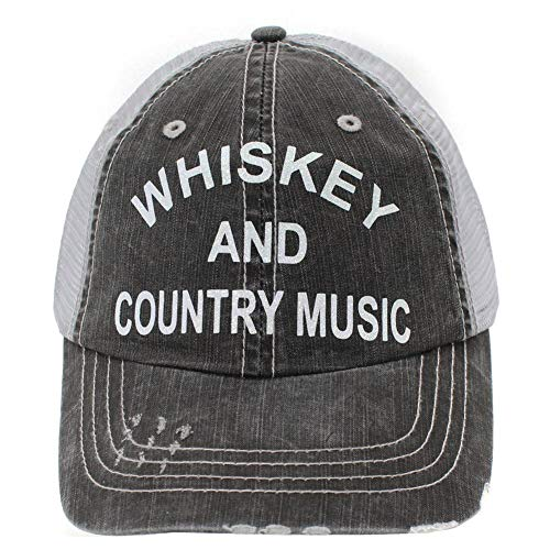 R2N fashions Whiskey and Country Music Women's Trucker Hats & Caps Black/Grey ()