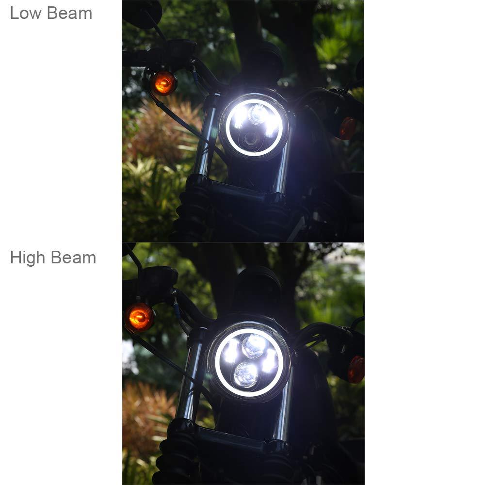 5.75 inch LED Headlight Halo DRL Bulb Light Kit Headlamp for Harley Davidson Street Bob Super Wide Glide Low Rider Night Rod Softail Custom Iron 883 Dyna Indian Scout Triumph Black Ubuymore 4347589183