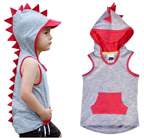 Mini Jiji T-Rex Dino Hoodie Tank with Sun Cap for Infant Toddlers Boys Girls Unisex (12-18 mos)