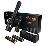 KANGORA LED Flashlight Kit - 5 Modes - Water-Resistant Handheld Flashlights with Rechargeable 18650 Battery Charger for Camping, Hiking, Cycling, and Emergency Search Missions (TF-160)