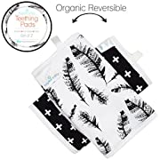 Kaydee Baby Organic Cotton Reversible Teething Chew Pads w/ Organic Fleece Inner Lining for Baby Carriers for Girls and Boys - 2 Pack - Variety of Options Available (Feathers)