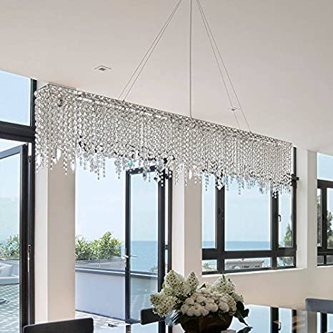 7PM W47u0026quot; Modern Crystal Chandelier Pendant Lights Lighting Fixture For Dining  Room Over Table