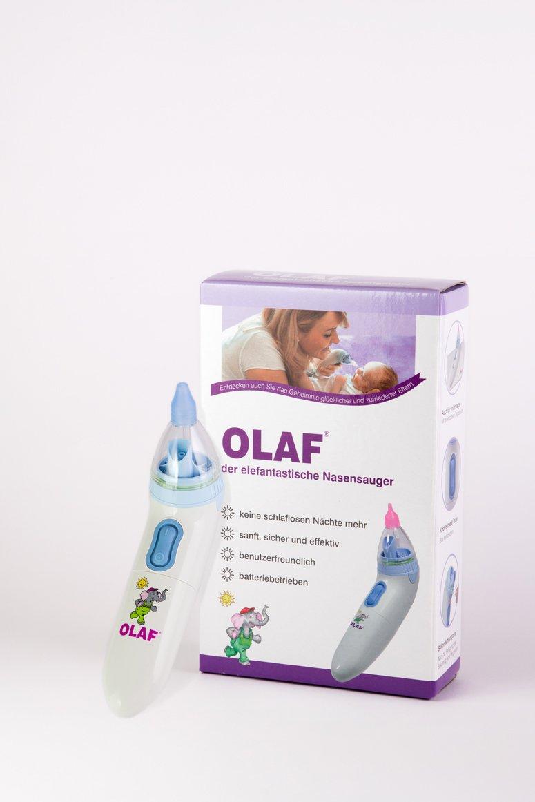 OLAF der elefantastische Nasensauger I DIE DEUTSCHE MARKE I Pflege für Baby- und Kleinkind - Nasen I Elektrischer Nasensensauger für Baby Erstausstattung I Mobiler Nasensekretsauger für sanfte Nasen