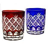Pair of Red And Blue Double Old Fashioned Glass 9.4Oz Edo Kiriko Design Cut Glass Kasane Yarai - Pair [Japanese Crafts Sakura]
