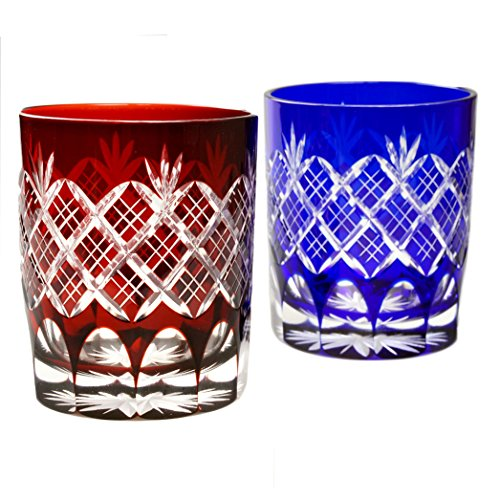 Pair of Red And Blue Double Old Fashioned Glass 9.4Oz Edo Kiriko Design Cut Glass Kasane Yarai - Pair [Japanese Crafts Sakura] by Japanese Crafts Sakura