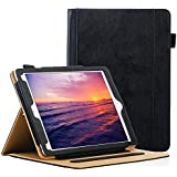 ZoneFoker Leather Case Compatible for Apple iPad 6th/5th Generation 9.7 inch 2018/2017,[Corner Protection] [Auto Wake/Sleep] Multi-Angle Viewing Folio Stand Cover with Pocket - Black