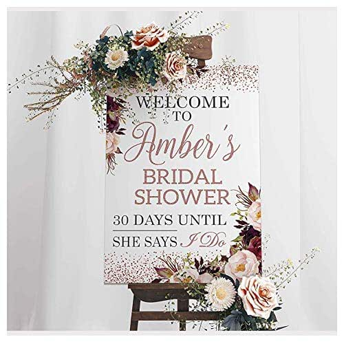 Gold Glitter Custom PRINTABLE 8x1016x20\u201d Sign Editable Wedding Welcome Sign Rose Gold Blush Floral